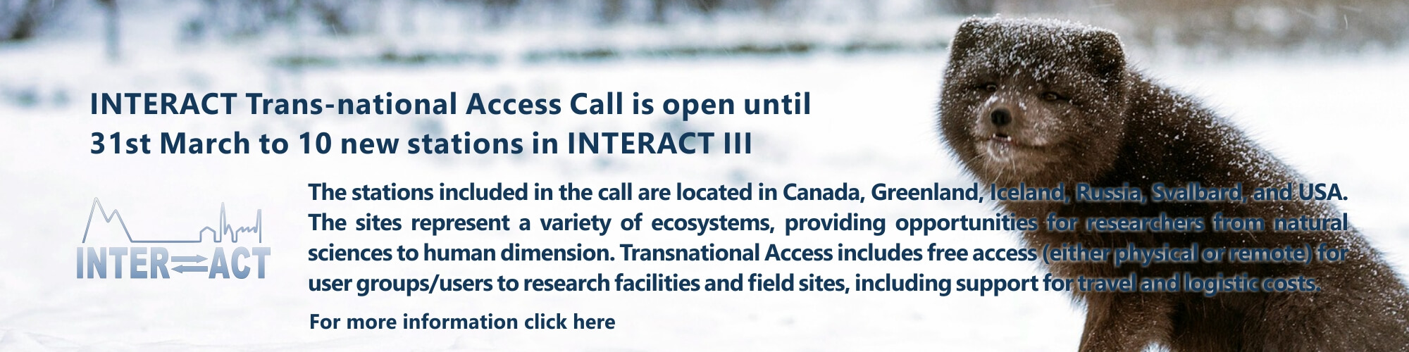 INTERACT trans-national access call 2020